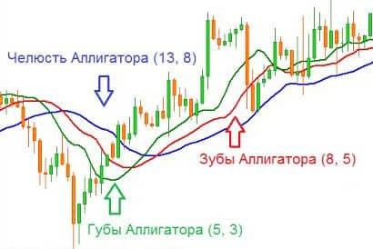 Индикатор Аллигатор на графике Форекс